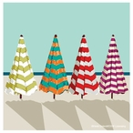 Beach Umbrellas Absorbent Beverage Coasters by Heidi Dobrott, Set of 8