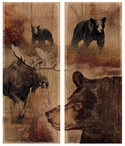 Bear and Moose Backwoods Wood Signs, Set of 2