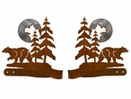 Burnished Bear and Pine Trees Metal Curtain Tie Backs