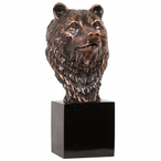 Bear Bust Statue - Antique Copper Finish