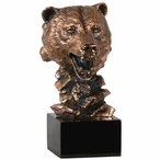 Bear Bust Statue - Copper Finish