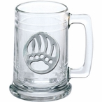 Bear Paw Glass Beer Mug with Pewter Accent