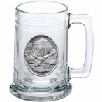 Bear with Fish Glass Beer Mug with Pewter Accent