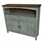 Bedford 2 Drawer with 2 Door Sage Grey Cabinet with Wood Top