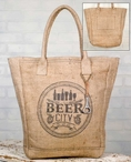 Beer City Soft Burlap Grocery Market Tote Bag