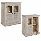 Bengal Manor Aged Ash 2 Door Louvered and Glass Mango Wood Cabinet