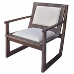 Bengal Manor Charcoal Grey Mango Wood Accent Chair with White Leather