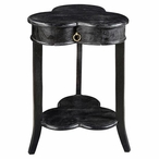 Bengal Manor Clover Leaf 1 Drawer Ebony Mango Wood Accent Table