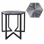 Bengal Manor Shaped Iron Base Hexagon Table with Patterned Marble Top