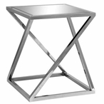 Bentley Chrome Z Accent Table with Beveled Mirror Top