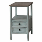 Bethany 2 Drawer Sea Mist Chairside End Table with Wood Top