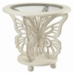 Bethany White Butterfly MDF Accent Table