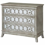 Beverly Gold Leaf Circle 3 Drawer Metal and Mirror Chest