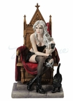 Bewitched and Bewildered Woman Sitting with Black Cat Sculpture