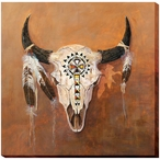 Big Medicine Buffalo Skull Wrapped Canvas Giclee Print Wall Art