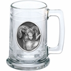 Bighorn Sheep Glass Beer Mug with Pewter Accent