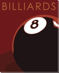 Billiards with 8 Ball Wrapped Canvas Giclee Print Wall Art