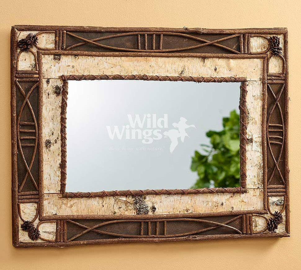 Birch Bark And Pinecone Wall Mirror Wall Decor Wild Wings