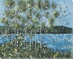 Birch Spring Batik Trees 2 Wrapped Canvas Giclee Print Wall Art