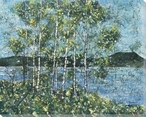 Birch Spring Batik Trees Wrapped Canvas Giclee Print Wall Art
