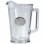 Bird Flying Scenic Glass Pitcher with Pewter Accent