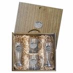 Bird Flying Scenic Pilsner Glasses & Beer Mugs Box Set with Pewter