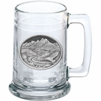 Bird Flying Scenic View Glass Beer Mug with Pewter Accent