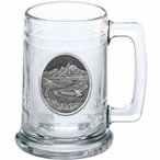 Bird Flying with Scenery Glass Beer Mug with Pewter Accent