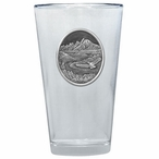 Bird Flying with Scenery Pint Beer Glasses w/ Pewter Accent, Set of 2