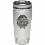Bird Flying with Scenery Stainless Steel Travel Mug with Pewter Accent