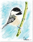 Bird Perching on a Branch Wrapped Canvas Giclee Art Print Wall Art