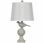 Bird Song Resin Table Lamp with Off White Silk Shade