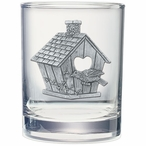 Birdhouse Pewter Accent Double Old Fashion Glasses, Set of 2