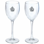 Birdhouse Pewter Accent Wine Glass Goblets, Set of 2