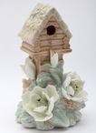 Birdhouse with Magnolia Flowers Porcelain Night Lights, Set of 2
