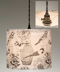 Birds and Birdcage Canvas Pendant Lamp Light