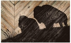 Bison Silhouette Wood Sign