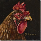 Bitty the Rooster Bird Wrapped Canvas Giclee Print Wall Art