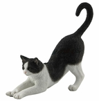 Black and White Cat Stretching Sculpture