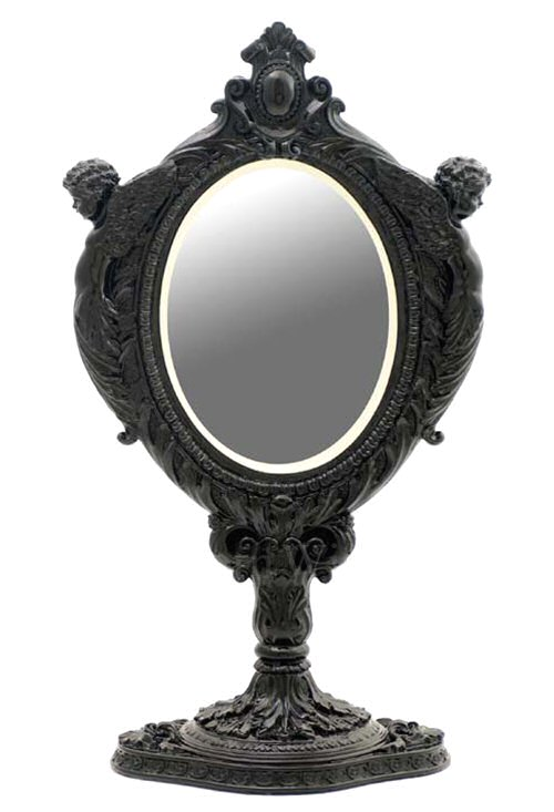 Black baroque mirror with two cherubs tabletop mirror for Baroque resin mirror