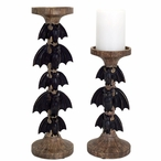Black Bats Pillar Candle Holder, Set of 2