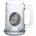 Black Bear Glass Beer Mug with Pewter Accent