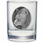 Black Bear Pewter Accent Double Old Fashion Glasses, Set of 2
