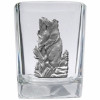 Black Bear Pewter Accent Shot Glasses, Set of 4