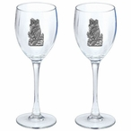 Black Bear Pewter Accent Wine Glass Goblets, Set of 2