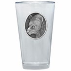 Black Bear Pint Beer Glasses with Pewter Accent, Set of 2