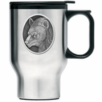 Black Bear Stainless Steel Travel Mug with Handle and Pewter Accent