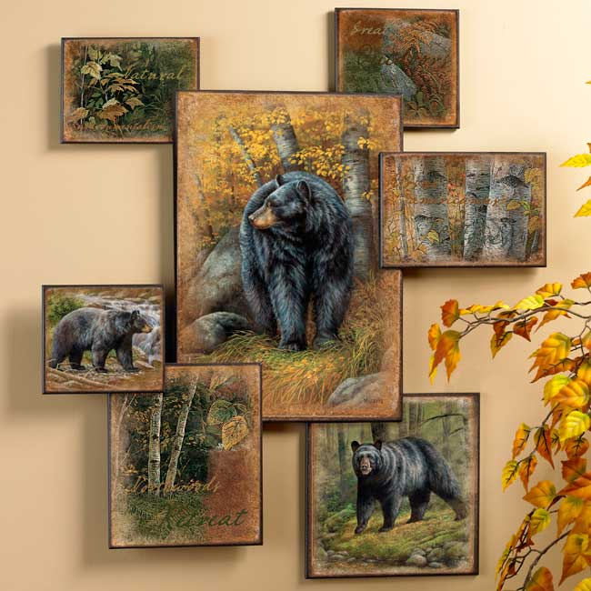 Black Bear Wall Collage Wall Art - Wildlife Wall Decor - Wild Wings