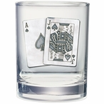 Black Jack Pewter Accent Double Old Fashion Glasses, Set of 2