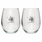 Black Jack Pewter Accent Stemless Wine Glass Goblets, Set of 2